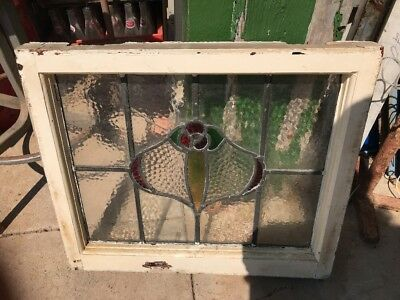 OLD  Wood LEADED Stain Glass Window! The Really Old Kind!  L@@k!