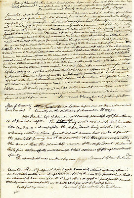 Two Original Vermont Court Documents Signed By Judge Samuel Chamberlain 1797-98