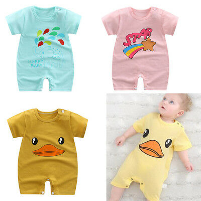 Newborn Baby Boy Girls Cotton Bodysuits Romper Clothes Cartoon Jumpsuit MW