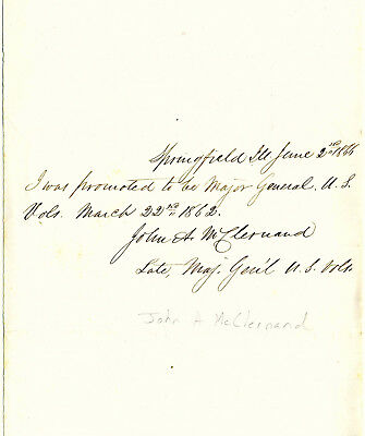 CIVIL WAR UNION ARMY MAJOR GENERAL JOHN McCLERNAND AUTOGRAPH NOTE SIGNED 1866