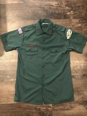 Official BSA Boy Scout Exploring Adult M Green Uniform Short Sleeve Shirt