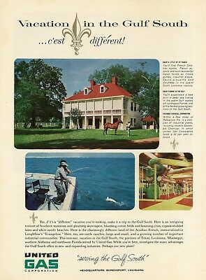 1962 AD United Gas Corp Vacation Gulf South photos Shreveport Vtg Print Advert