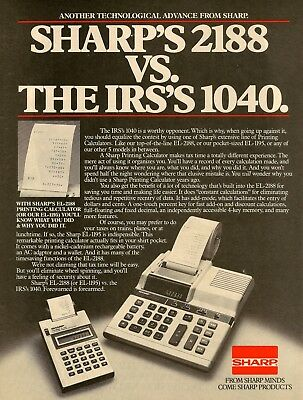 1982 Ad for Sharp 2188 Printing Calculator adding machine Magazine Advertisement