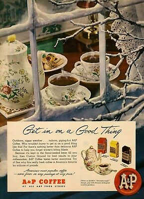 1948 Ad for A&P Coffee features Spode Gainsborough china Vintage Print Advert