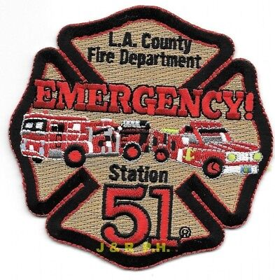 """Los Angeles Co.  Station - 51  """"EMERGENCY"""", California (4"""" x 4"""" size) fire patch"""