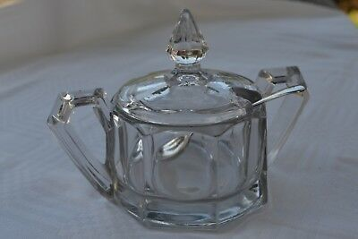 VINTAGE 1950s heavy glass sugar bowl with lid and spoon twin handled