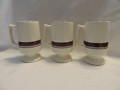 BUFFALO CHINA Pedestal Coffee Mugs-White w/Brown & Tan-Set of 3-EUC!
