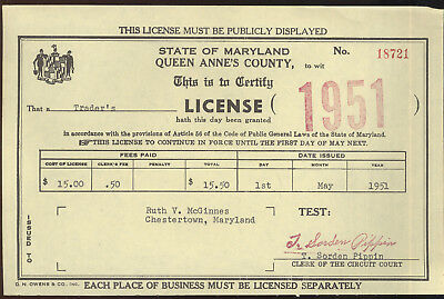 1951 Maryland Trader's License, Queen Anne's Co.