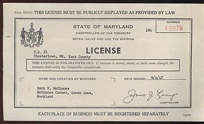 1947 Maryland Retail Sales License, Queen Anne's Co. Ruth V. Mcginnes
