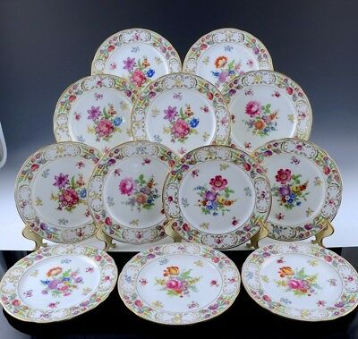 Fantastic Complete Set 12 Hammersley Dresden Sprays 8 Inch Luncheon Salad Plates