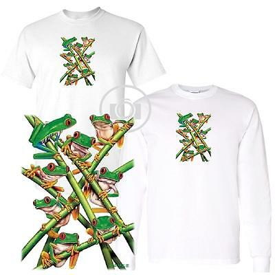 Frogs Stacked Red Eyed Eyes Tree Frog Short / Long Sleeve White T Shirt SALE