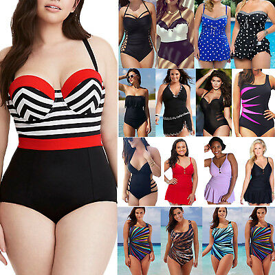 fd9b2ae13c Plus Size Women s Vintage Monokini One Piece Swimwear Bathing Suit Swim  Dress US