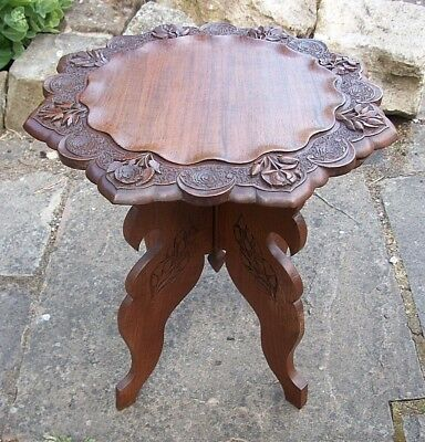 Beautiful Vintage Anglo/indian Folding  Wooden Side Table