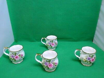 Queens China Floral Mugs x 4 Montrose Shape