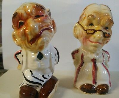 rare vintage antique Japan ugly old man & woman salt & pepper shakers