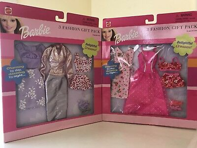 NEW LOT OF TWO Mattel Barbie Doll 3 Fashion Gift Pack-Day to Night Outfits