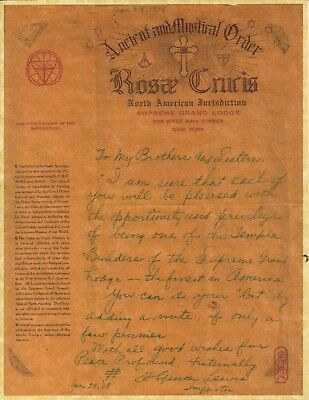 Letter from H. Spencer Lewis, Imperator, (copy) 1918 to Rosicrucian Members