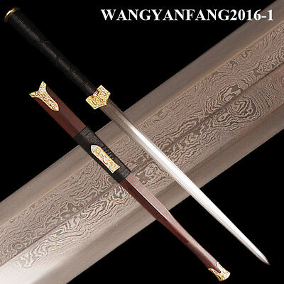 sharp chinese sword octahedral blade Han Jian dragon brass fitting folded steel