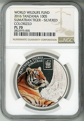 2016 100S  Wwf Tanzania - Sumatran Tiger - Colorized - Plated -  Ngc Pl 70