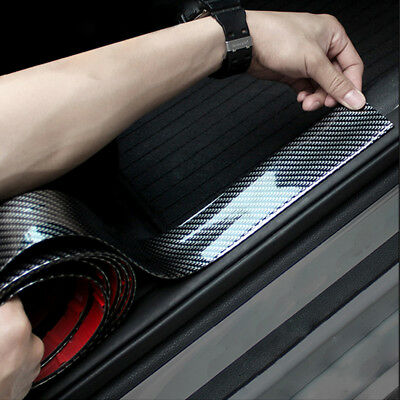 1M*10CM Car Sticker 4D Carbon Fiber Rubber DIY Door Sill Protector Edge Guard
