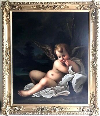Amazing  Antique Oil Painting of Putti French School 19th Century
