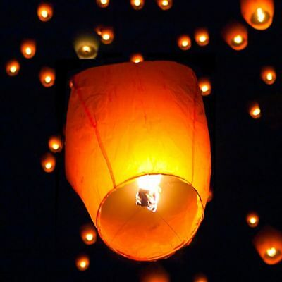 50pcs Chinese Flying Paper Lanterns Sky Fire Candle Lamp for Wish Wedding White