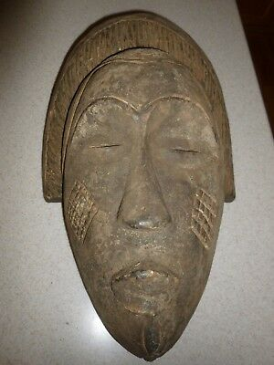 Very Old Antique Baule West Coast African Tribal Mask Full Face Wood Carved