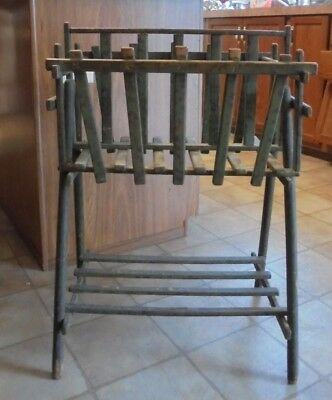 Vintage Antique Primative Painted Wood Magazine/Newspaper Rack Stand