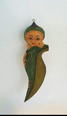 antique Indonesian wood carved naked fairy leaf ornament figurine baby nymph