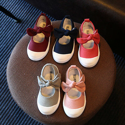 Toddler Kids Children's Shoes Girls Canvas Shoes Bow-knot Sneakers Casual Shoes