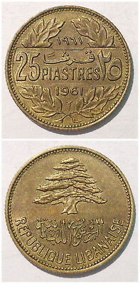 ET Lebanon 25 Piastres 1961 Large Date 23mm bronze coin
