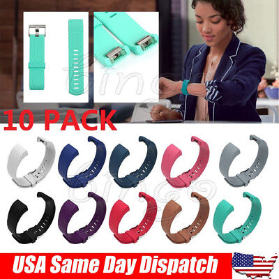 10 Pack Replacement Band for Fitbit Charge 2 Silicone Fitness Wristband S/ L