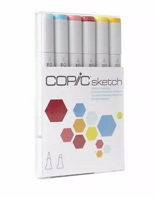 COPIC 6pc Sketch Perfect Primaries Set Alcohol Markers - Free Shipping