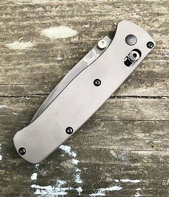 Benchmade Bugout 535 Custom Titanium Scales - Gray Sandblasted