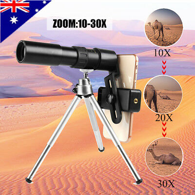 AU 10-30X Zoom Optical Telescope Monocular Phone Camera Lens + Tripod Holder NEW