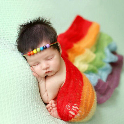 Baby Infant Toddler Photography Photo Props Wrap Knit Swaddle Blanket POP_,