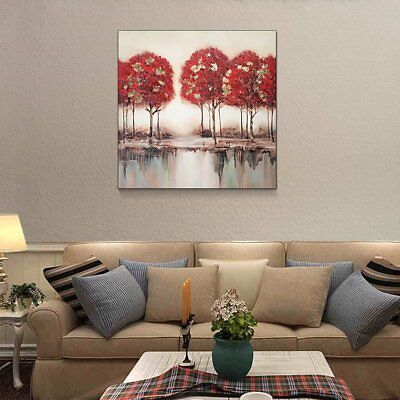 Hand-painted Modern Art Wall Decor Abstract Oil Painting Canvas Landscape tree Q