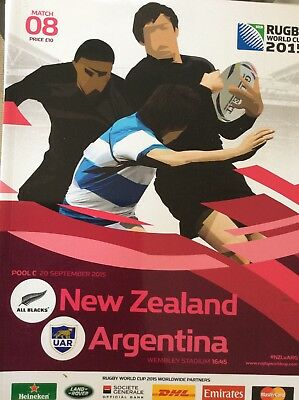 NEW ZEALAND v Argentina.RUGBY WORLD CUP 2015 OFFICIAL PROGRAMME, Wembley Stadium