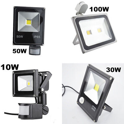 10/30/50/100W LED Flood Light PIR Motion Sensor Yard Floodlight Security Outdoor