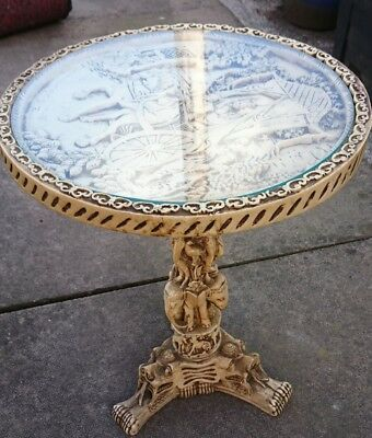 Antique Oriental Chinese Wine Side Lamp Table Chinese Dragon 20Th Century
