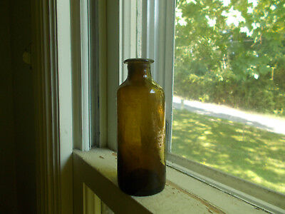 1840s OPEN PONTIL STODDARD AMBER NEW ENGLAND INK OR MEDICINE BOTTLE FLARED LIP