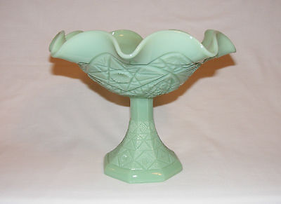 Vintage Tall Ruffled Compote Pedestal Stand Bowl Jadeite Rare Mosser Glass