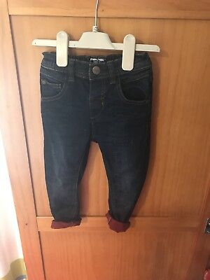 Next Boys Dark Blue Skinny Jeans With Red Turn Ups In Size 18-34 Months