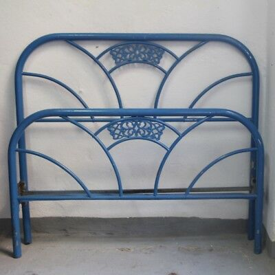 Vintage Art Deco Art Nouveau Single Blue Bed Headboard, Foot Part, Spain 1940s