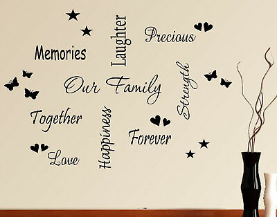 Wall Art Sticker Quote Our Family Words Phrases Sayings Heart Home Decals Pack