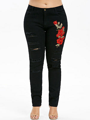 Womens Plus Size Embroidery Stretch Denim Jeans Distressed Ripped Jeggings Pants
