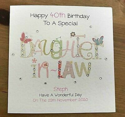 Handmade Personalised Birthday Card DAUGHTER IN LAW 25th 30th 40th 50th ANY AGE