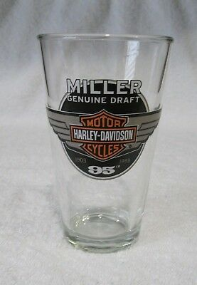 Harley Davidson Miller Draft 95th Anniversary Beer Pint Glass 1903-1998 Sturgis