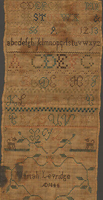 1844 Child's Sampler, Abc's, Numbers, Dogs, Floral, Mariah Levridge, Maryland