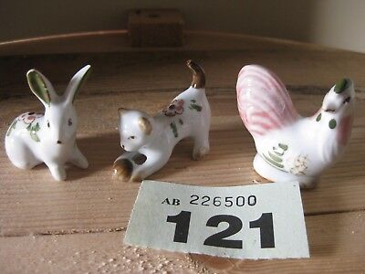Three Unmarked Small Animals Rabbit Chicken Cat with Ball Green Floral Delft??